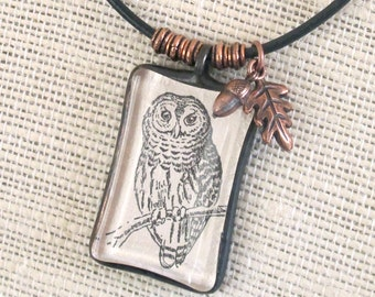 Vintage Print Owl Pendant Necklace - 1/3 OFF - Leather cord with Copper leaf and findings