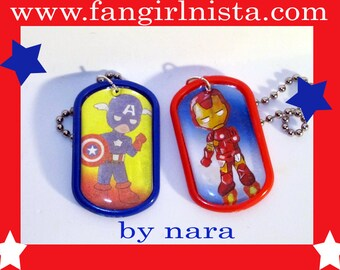 Captain America or Iron Man dog tag necklace