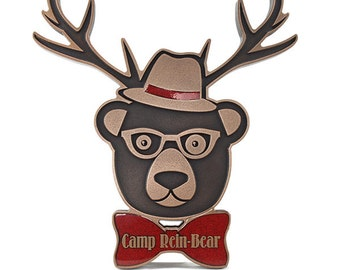 Custom Hipster Rein-Bear Welcome Sign Choose Your Colors 12x13 by Atlas Signs and Plaques