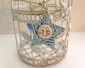 Moon Star Christmas Ornament - Rustic Star Ornaments