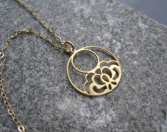 Gold Hoop Necklace -Gold Flower Hoop Necklace - Gold Filigree Necklace - Simple Gold - Everyday Gold - Modern -Delicate - MInimal