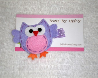 Purple Owl Hair Clip - Purple and Pink Owl Felt Hair Clip