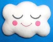 Cloud Cushion - Cloud Felt Plush Mini Pillow - Cute Cloud - Kawaii Clouds - White Cloud Pillow - Nursery Decor - Happy Face Cloud