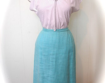 Vintage 50s style Blouse Blue and White Dot Top L XL - on sale