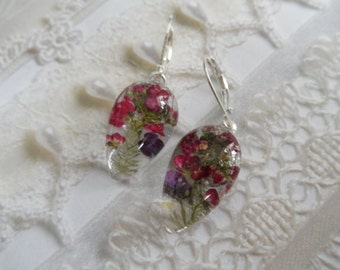 Purple, Maroon Alyssum Pressed Flower Glass Teardrop Leverback Earrings-Nature's Wearable Art-Symbolizes Worth Beyond Beauty-Gifts Under 30
