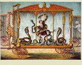 antique victorian circus illustration snake wagon lithograph digital download