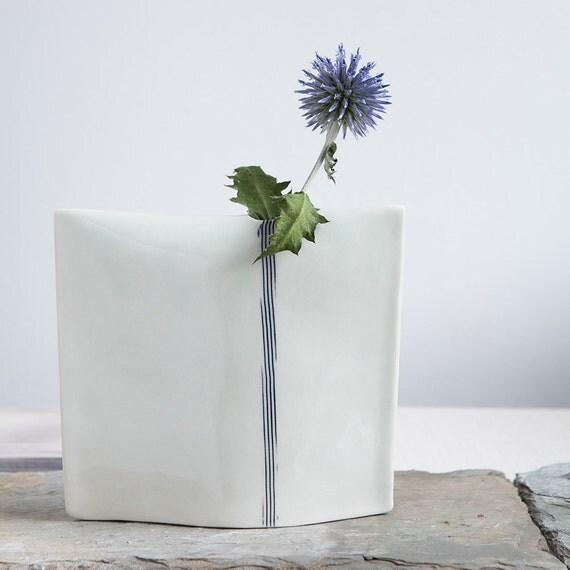 Hand Built Porcelain Bud Vase // Medium Pillow Vase