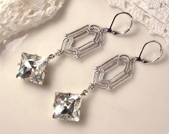 1920 Flapper Rhinestone Dangle Earrings Crystal Antique Silver Bridal Earrings Art Deco 20s Great Gatsby Downton Abbey Long Bridesmaid Gifts