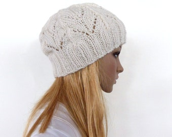 Cream knit hat Winter white knit hat with leaf pattern Womens knit hat gifts for her