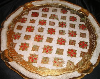 """Opulent Festive Italian Florentine Hand Crafted/Painted Festive Gilt Wood Tray 17"""" Shabby Chic serving/collectible Tray"""