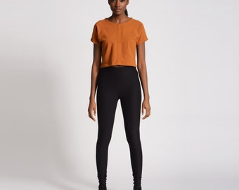High Waist Black Basic Leggings Tights
