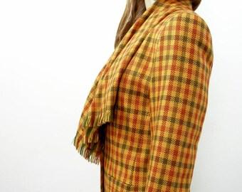 Vintage 1980s Jacket Gold Plaid Fringe Scarf Blazer Jacket / Small