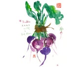 Purple radish print, Kitchen art, Watercolor print, Vegetable painting, Botanical home decor, Kitchen decor, Food art, Vegetable print, 8X10