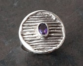 Amethyst Ring, Sterling Silver Purple Amethyst Gemstone Cocktail Ring, February Birthstone, Wearable Art, Amethyst Jewelry, Architectural