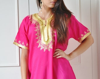 Moroccan Boho Pink Resort Caftan Kaftan Fez-Kaftan,Caftan,beach coverup,loungewear,maxi dress, birthdays, honeymoon, maternity, eid gifts