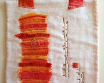 Fiber Art, Wall Hanging. Asian Inspired Art, Repurposed Textiles, Bamboo Quilt Hanger, Orange White Wall Art, Quiltsy Handmade