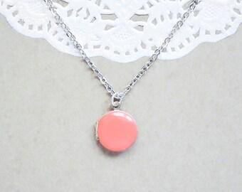 Coral Enamel Silver Locket - Small Round Enameled Pendant