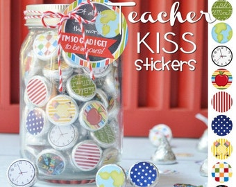 TEACHER, School, Chocolate Kiss Mason Jar Gift Set with Tag & Topper, Printable Kiss Stickers - Instant Download