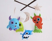 "Baby Crib Mobile - Baby Mobile - ""Good Night Little Monsters"" Mobile (Pick your color) - Crib Mobile - Nursery room decor"