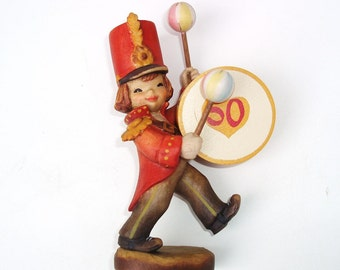 Vintage Wooden Figure   Drummer   Anri Wood Carving    Wood Figurine   Marching Band   50 Year Anniversary