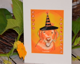 Art animals dog HALLOWEEN CARD LABRADOR Greeting Card Yellow Lab lover pets