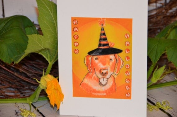 Art animals dog HALLOWEEN CARD LABRADOR Greeting Card Yellow Lab lover pets