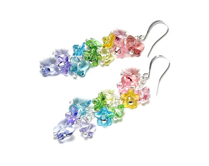 Butterfly Garden Swarovski Crystal Silver Earrings, Pastel Butterfly Earrings, Long, Butterfly Jewelry, Pink, Peach, Yellow, Green, Purple