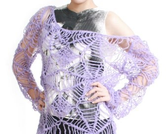 SALE 32.00 RTBU Gothic Kawaii Cutie Punk Cobweb Spider Web Net Acrylic Mohair Knitted Crochet Sweater Slouchy Off Shoulder Pastel Purple