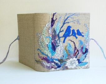 Blue photo album, Love Bird, blue bird, Fairy tale photo album, Embroidered photo album, sea wedding, beach wedding, Family photo album