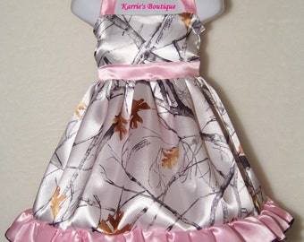 CAMO Flower Girl Dress / Snow Camo + Pink / Halter / Satin / Wedding / Bridesmaid / Pageant/ Infant/ Baby/ Girl/ Toddler / Boutique Clothing