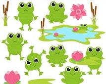 frog clip art clipart digital spring reptiles flowers - Frolicking Frogs Digital Clip Art