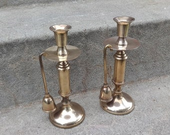 Brass Vintage Gold Candle Holders SHINY Set Holiday Mid Century