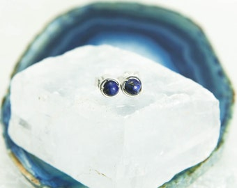 Tiny Lapis Lazuli Stud Earrings - Sterling Silver Wire Wrapped Navy Blue Genuine Gemstone Rounds - Intuition, Meditation, Healing