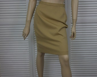 Vintage Skirt Laura Ashley Tan Pencil Skirt Pure New Wool Size 6