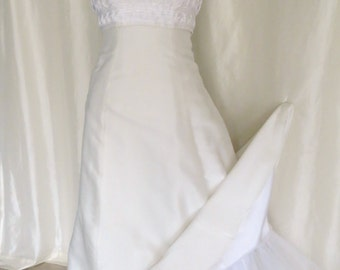 Vintage 70s bridal gown wedding dress white Summer sleeveless halter top crinoline slip macrame empire waist