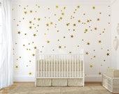Gold vinyl wall decal sticker wall art stars - Gold star decal set for baby nursery wall - gold confetti stars