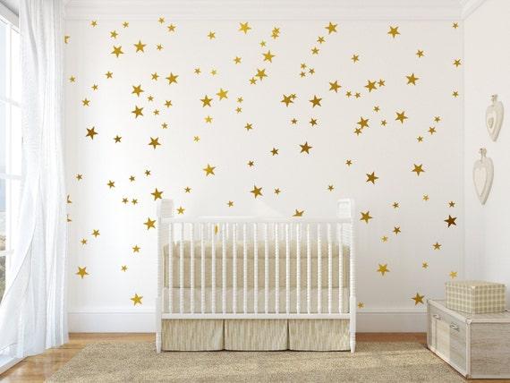 Gold vinyl wall decal sticker wall art stars - Gold star decal set for baby nursery