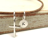 Small Sterling Silver Cross Necklace with Initial on Leather Masculine Gift  for Young Man Graduation Baptism Communion Confirmation