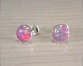 Pink Opal Stud earrings - sterling silver