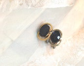 Vintage Onyx Cufflinks With Gold Leaf Mid Century Estate Jewelry