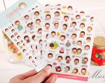 Momoi Sticker Ver 2 Set - Korean Sticker - Diary Sticker - Deco Sticker Set - 6 sheets
