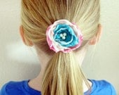 Layered pink, teal, & beige silk flower with pearl beads girl baby teen hair clip wedding prop photo prop bridesmaid