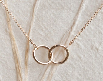 Gold Interlocking Rings Necklace,14K Gold Filled, Two Small Intertwined Gold Circles, Simple and Subtle Jewelry by Shibusa
