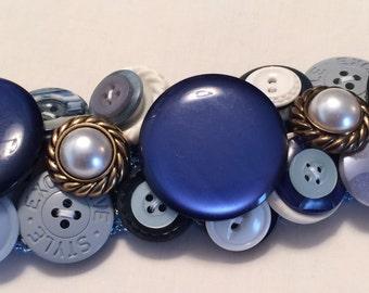Button Bracelet Blue Collar Special Vintage Button Bracelet