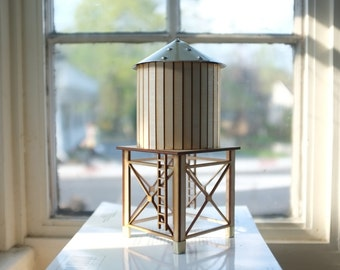 NEW! NYC water tower 2 - tabletop wooden water tower - gold aluminum roof and accents  - industrial cityscape decor - geometric