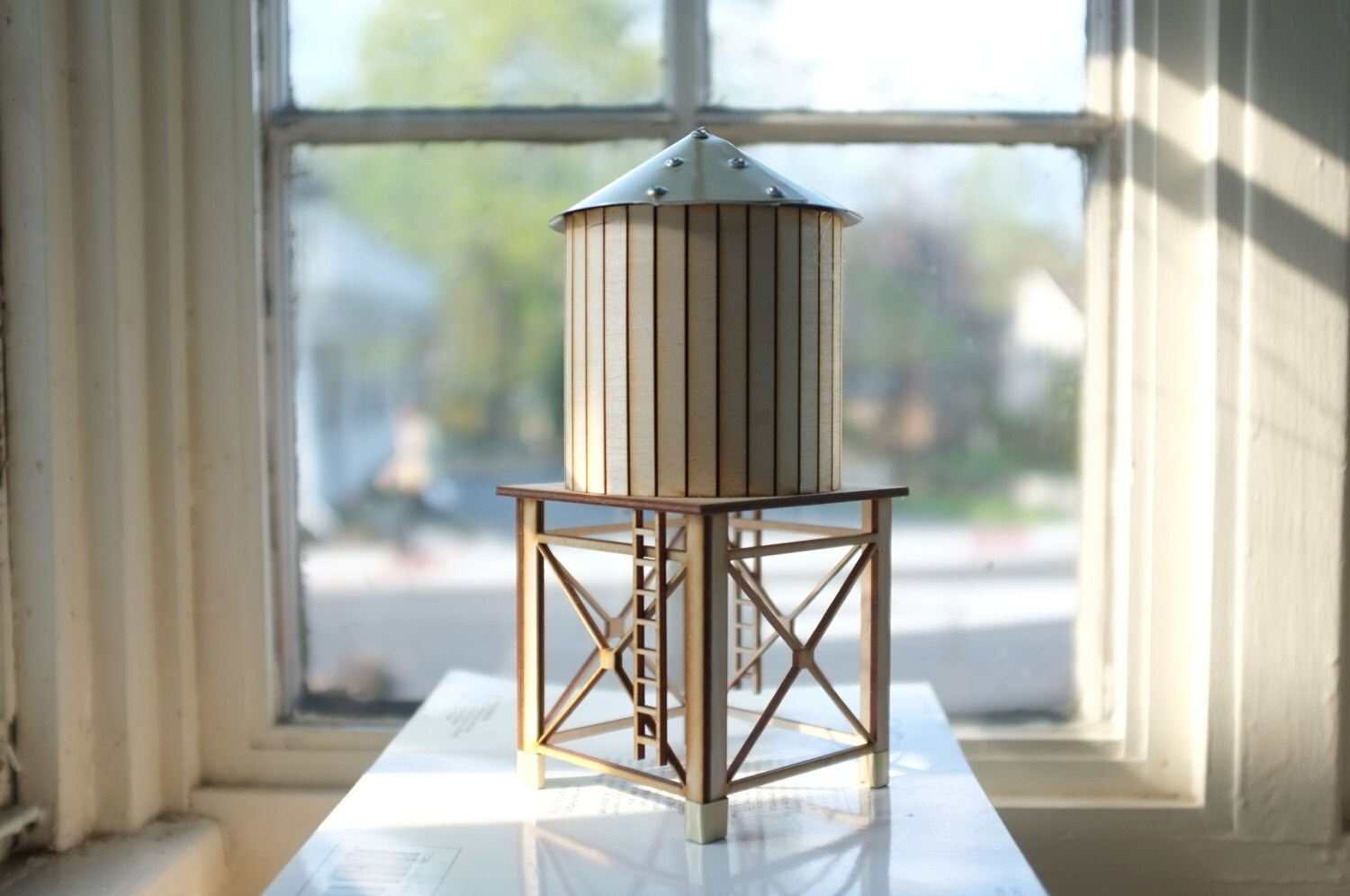 New nyc water tower 2 tabletop wooden water tower gold for Roof accents
