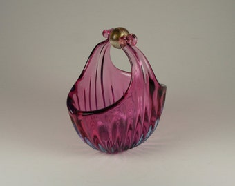 Murano Barbini Cranberry Raspberry Blush Basket Gold Foil Ball Handel Vintage Antique Mid Century Housewares Home Décor Italian Art Glass