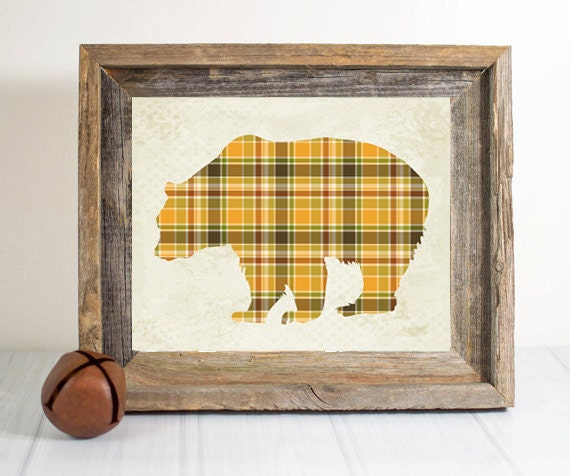 Items similar to plaid bear nursery print woodland for Rustic bear home decor