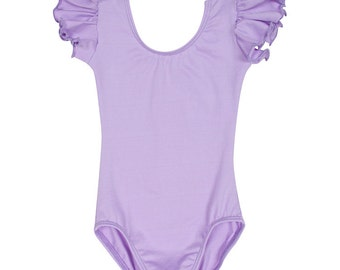 Lilac / Purple Leotard for Toddler & Girls Leotard with Flutter / Ruffle Short Sleeve READY TO SHIP