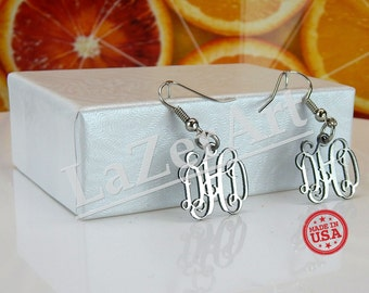 Silver monogram earrings stainless steel personalized initials for Jewelry engraving gainesville fl